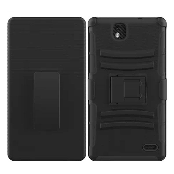 3 in 1 Snap-On Silicone and PC Case for ZTE Grand XMax with Kickstand (Black)