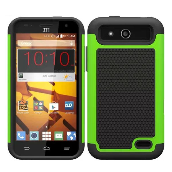 Football Texture Antiskid Rugged Hybrid Silicone and PC Cover for ZTE Speed (Lime)