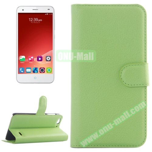 Litchi Texture Wallet Leather Case for ZTE Blade S6 with Card Slots & Holder & Wallet (Green)