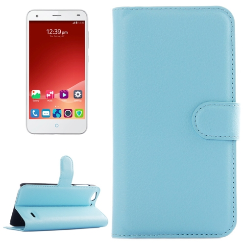 Litchi Texture Wallet Leather Case for ZTE Blade S6 with Card Slots & Holder & Wallet (Blue)