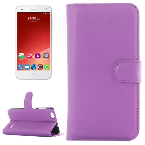 Litchi Texture Wallet Leather Case for ZTE Blade S6 with Card Slots & Holder & Wallet (Purple)