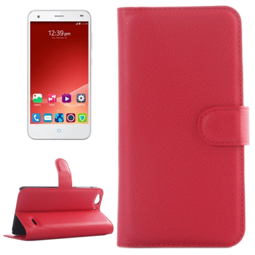 Litchi Texture Wallet Leather Case for ZTE Blade S6 with Card Slots & Holder & Wallet (Red)