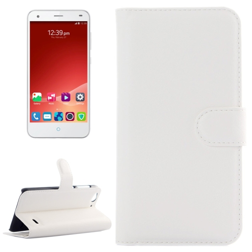Litchi Texture Wallet Leather Case for ZTE Blade S6 with Card Slots & Holder & Wallet (White)