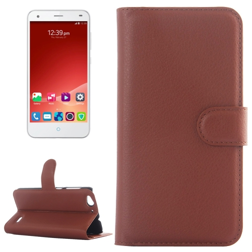Litchi Texture Wallet Leather Case for ZTE Blade S6 with Card Slots & Holder & Wallet (Brown)