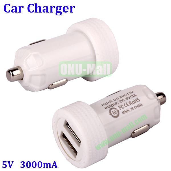 Dual USB Port 3000mA Rechargeable Car Charger for iPhone, iPod, MP3, Mobile phones(White)