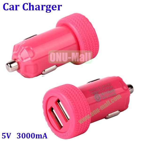 Dual USB Port 3000mA Rechargeable Car Charger for iPhone, iPod, MP3, Mobile phones(Red)