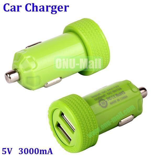 Dual USB Port 3000mA Rechargeable Car Charger for iPhone, iPod, MP3, Mobile phones(Green)