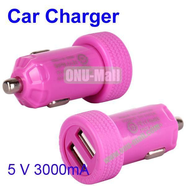 Dual USB Port 3000mA Rechargeable Car Charger for iPhone, iPod, MP3, Mobile phones(Purple)