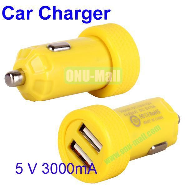 Dual USB Port 3000mA Rechargeable Car Charger for iPhone, iPod, MP3, Mobile phones(Yellow)