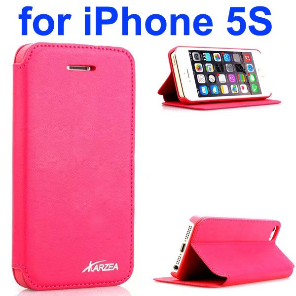 Luxury Superior Quality Karzea Leather Flip Cover Case for iPhone 5S (Rose)