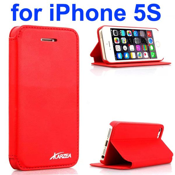 Luxury Superior Quality Karzea Leather Flip Cover Case for iPhone 5S (Red)