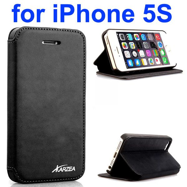 Luxury Superior Quality Karzea Leather Flip Cover Case for iPhone 5S (Black)