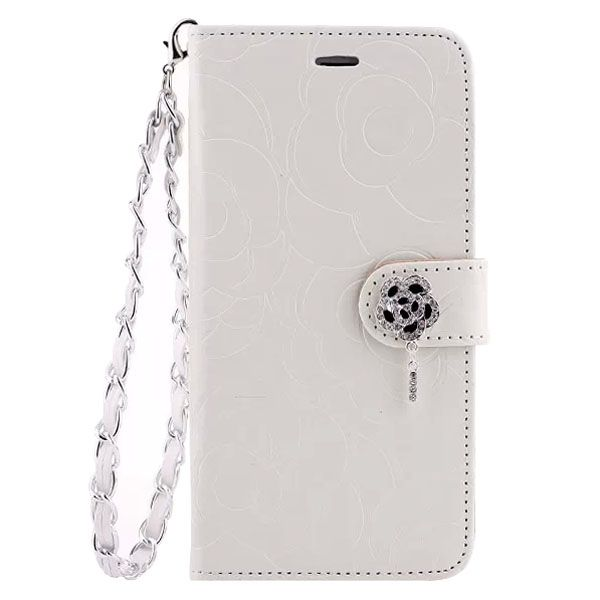 Embossed Style Diamond Buckle Leather Flip Cover for iPhone 5S with Lanyard (White)