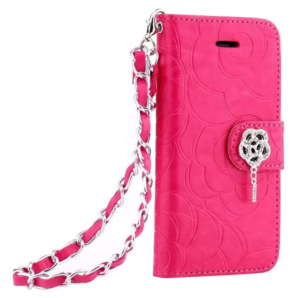 Embossed Style Diamond Buckle Leather Flip Cover for iPhone 5S with Lanyard (Rose)