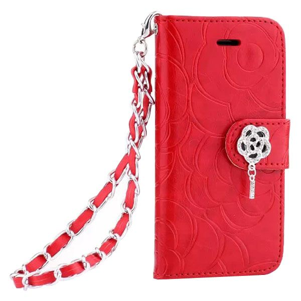 Embossed Style Diamond Buckle Leather Flip Cover for iPhone 5S with Lanyard (Red)