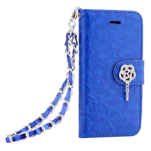 Embossed Style Diamond Buckle Leather Flip Cover for iPhone 5S with Lanyard (Blue)
