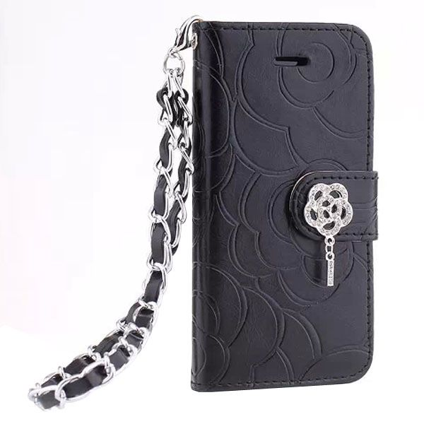 Embossed Style Diamond Buckle Leather Flip Cover for iPhone 5S with Lanyard (Black)