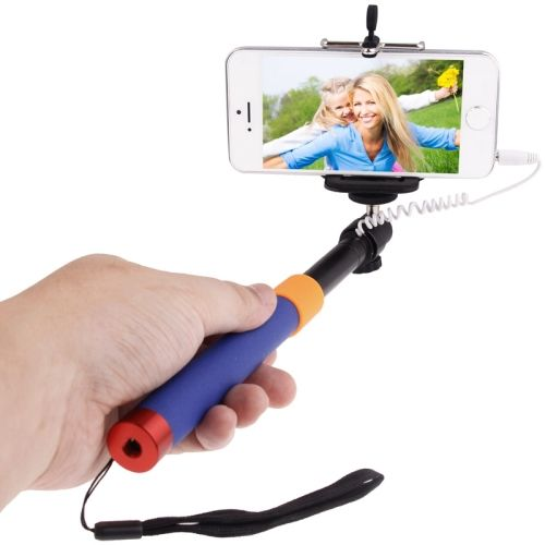 Colorful Extendable Cable Selfie Stick Monopod for Mobile Phones (Red and Purple)