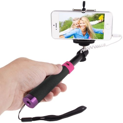 Colorful Extendable Cable Selfie Stick Monopod for Mobile Phones (Black and Purple)