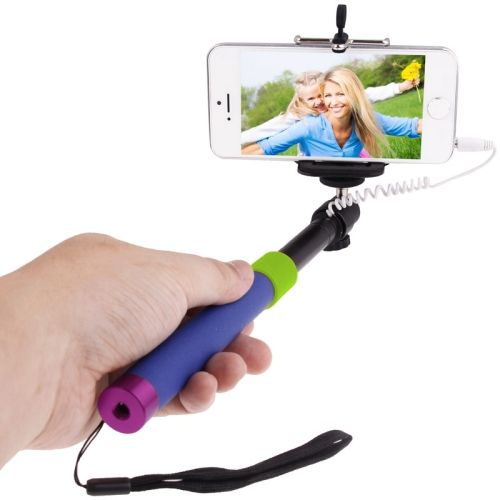 Colorful Extendable Cable Selfie Stick Monopod for Mobile Phones (Blue and Purple)