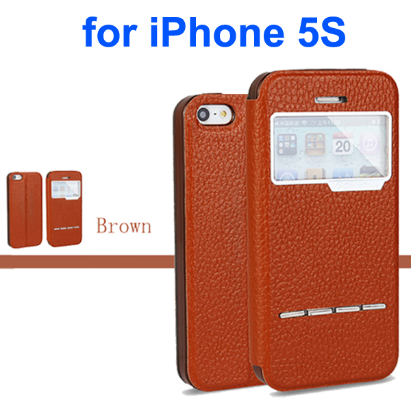 Litchi Texture Genuine Leather Flip Cover for iPhone 5S with Sliding-Answer Function (Brown)