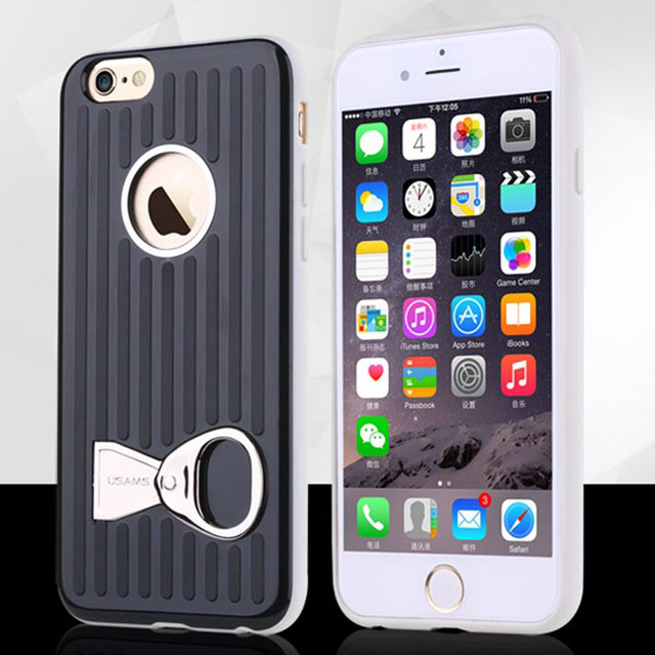 USAMS Rock Series TPU and PC Hybrid Case for iPhone 6 with Can Ring Kickstand (Black)