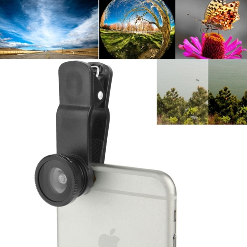 F-018 5 in 1 Universal 180 Degree Fisheye Lens + Marco Lens + 0.65X Wide Lens + CPL Lens + 2X Telephoto Lens with Clip, Suit for iPhone, Samsung, HTC (Black)