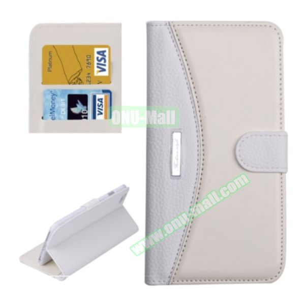 Litchi Texture Contrast Color Retro Wallet Flip Leather Case for iPhone 6 4.7 with Card Slots (White)