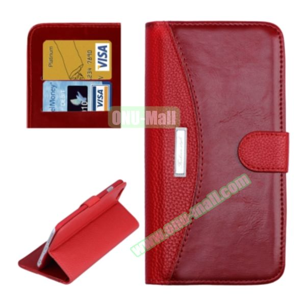 Litchi Texture Contrast Color Retro Wallet Flip Leather Case for iPhone 6 4.7 with Card Slots (Red)