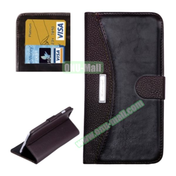 Litchi Texture Contrast Color Retro Wallet Flip Leather Case for iPhone 6 4.7 with Card Slots (Brown)