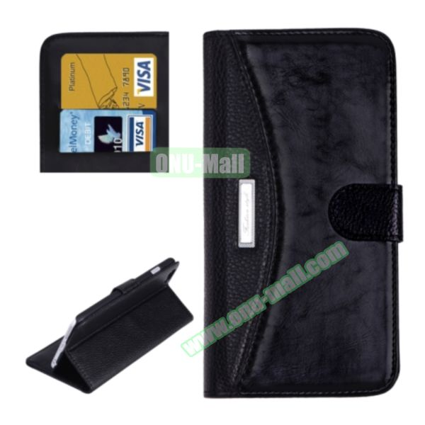 Litchi Texture Contrast Color Retro Wallet Flip Leather Case for iPhone 6 4.7 with Card Slots (Black)