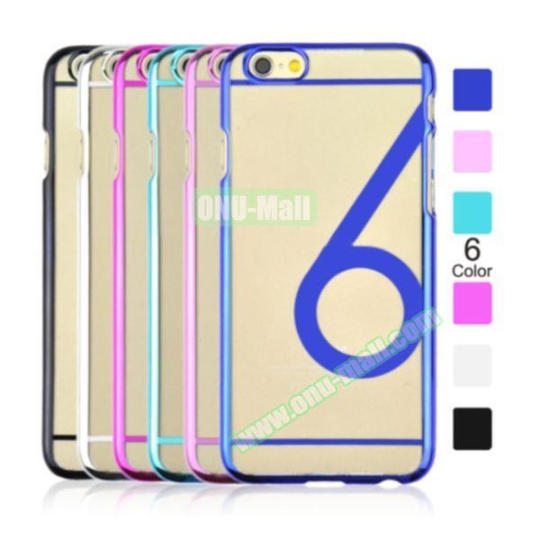 Num 6 Pattern Ultrathin Plating Skin Hard Case for iPhone 6 4.7 (Pink)
