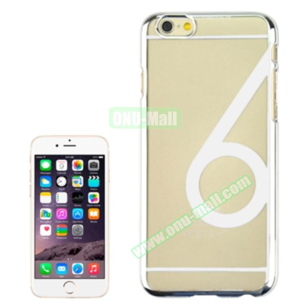 Num 6 Pattern Ultrathin Plating Skin Hard Case for iPhone 6 4.7 (White)