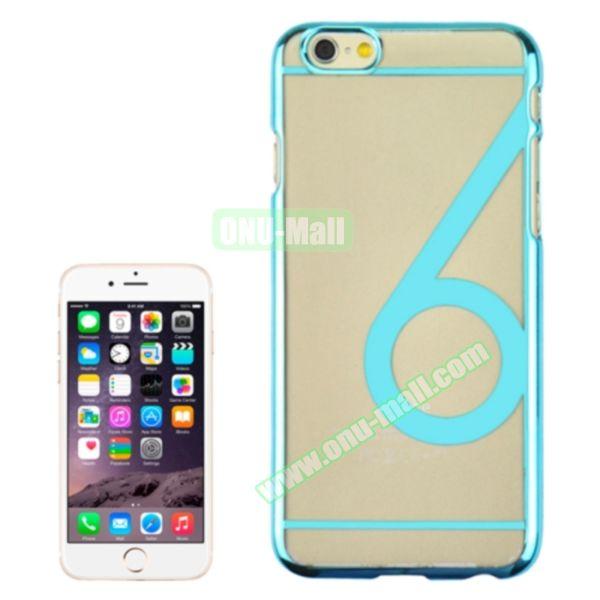 Num 6 Pattern Ultrathin Plating Skin Hard Case for iPhone 6 4.7 (Light Blue)