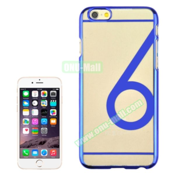 Num 6 Pattern Ultrathin Plating Skin Hard Case for iPhone 6 4.7 (Dark Blue)