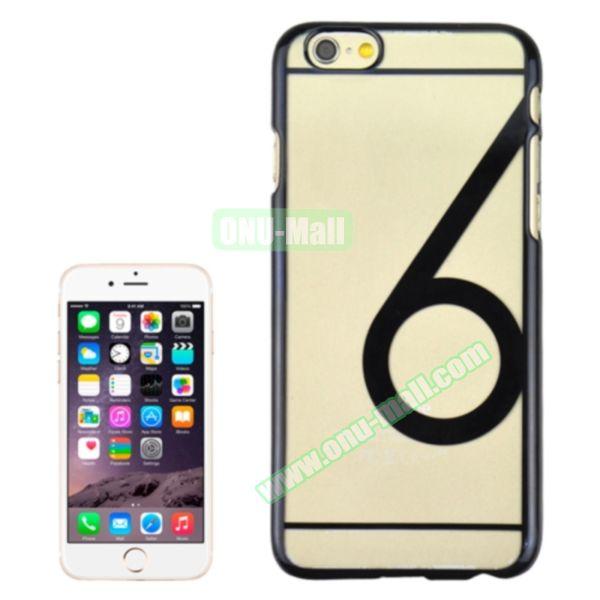 Num 6 Pattern Ultrathin Plating Skin Hard Case for iPhone 6 4.7 (Black)