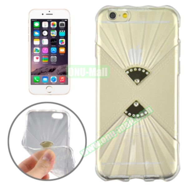 Double Fans Diamond-encrusted TPU Case for iPhone 6 4.7 (Transparent)