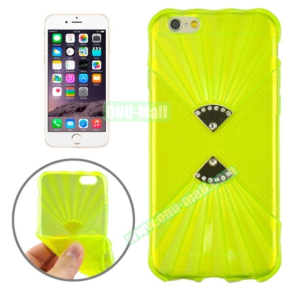 Double Fans Diamond-encrusted TPU Case for iPhone 6 4.7 (Green)