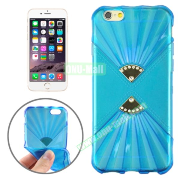 Double Fans Diamond-encrusted TPU Case for iPhone 6 4.7 (Dark Blue)