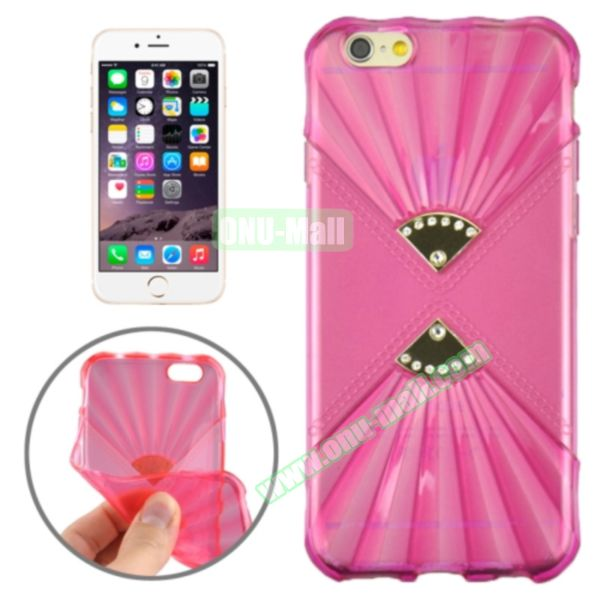 Double Fans Diamond-encrusted TPU Case for iPhone 6 4.7 (Rose)