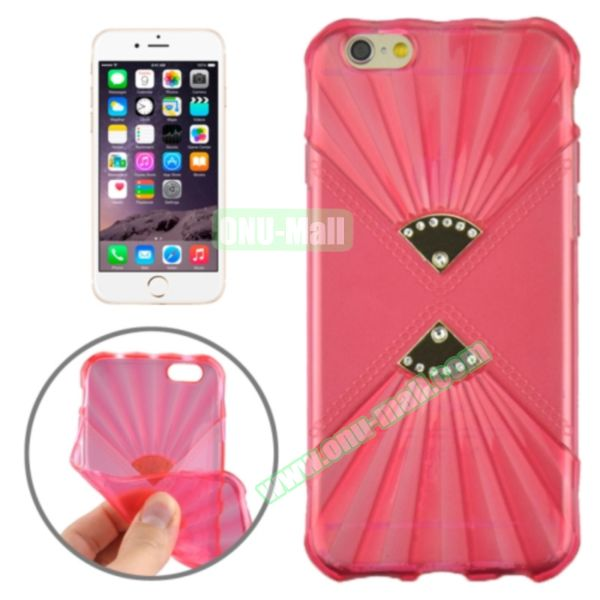 Double Fans Diamond-encrusted TPU Case for iPhone 6 4.7 (Red)
