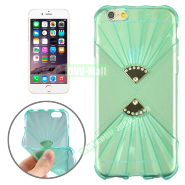 Double Fans Diamond-encrusted TPU Case for iPhone 6 4.7 (Light Blue)