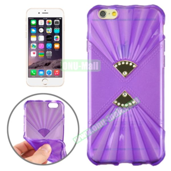 Double Fans Diamond-encrusted TPU Case for iPhone 6 4.7 (Purple)