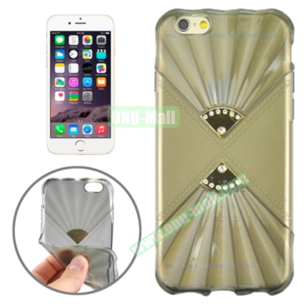 Double Fans Diamond-encrusted TPU Case for iPhone 6 4.7 (Grey)