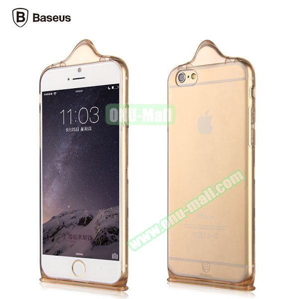 Baseus Icondom Series Ultra-thin Translucent Flexible TPU Case for iPhone 6 Plus 5.5 (Gold)
