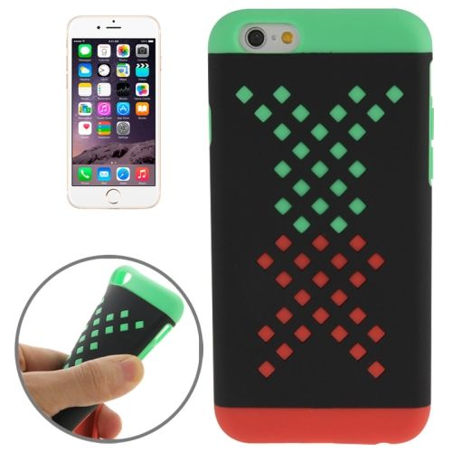 Mix Color Hollowed-out Hole Design TPU Case for iPhone 6 (Green+Red)