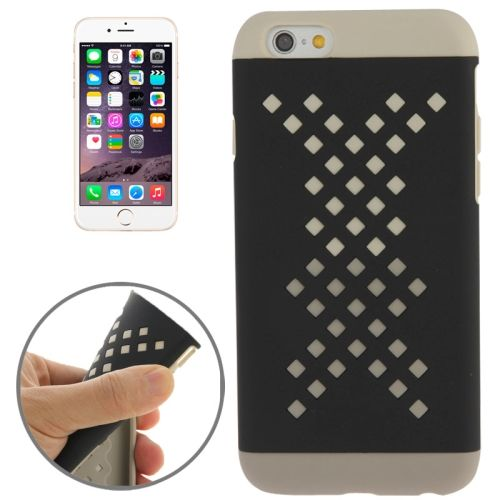 Mix Color Hollowed-out Hole Design TPU Case for iPhone 6 (White+Grey)