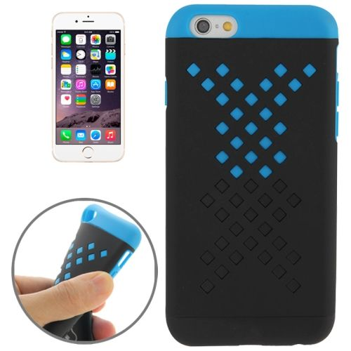 Mix Color Hollowed-out Hole Design TPU Case for iPhone 6 (Light Blue+Black)