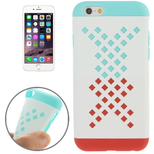Mix Color Hollowed-out Hole Design TPU Case for iPhone 6 (Light Green+Red)
