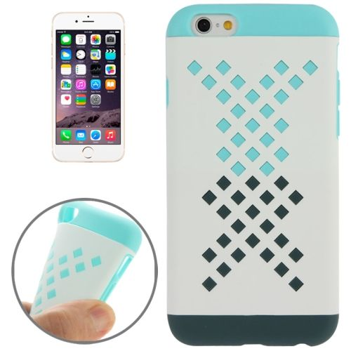 Mix Color Hollowed-out Hole Design TPU Case for iPhone 6 (Light Green+Black)